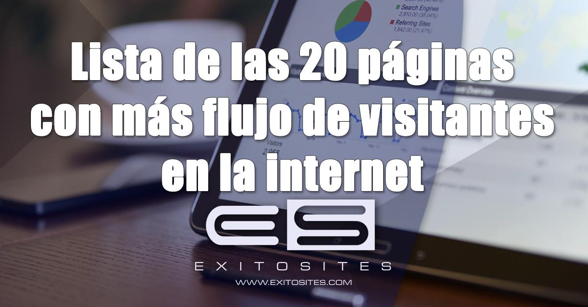 Lista de las 20 páginas con más flujo de visitantes de la Internet